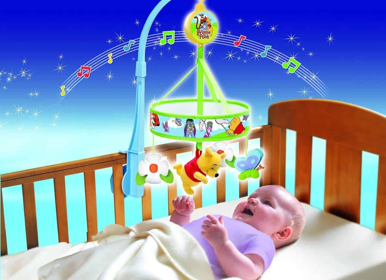 Disney Winnie Wind Up Cot Mobile Baby Nursery Musical Toy